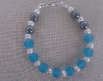 Sparkling, blue and black silver bracelet