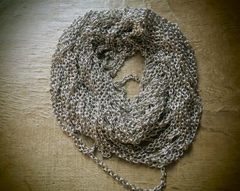 Sold by the yard 4 elongated 3 mm stainless steel mesh chain