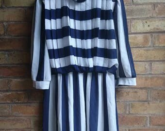 80s vintage blue and white stripe pleated dress
