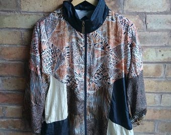 Vintage black and brown oversized shell jacket