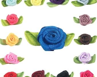 1000pcs/lot Satin Ribbon Rose Flower With Leaf 1.8*3.2cm Appliques Scrapbooking Sewing DIY Wedding Decoration Wholesale 1-366