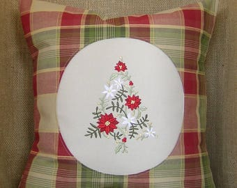 Embroidered Christmas Pillow, Christmas Pillow, Poinsettia, Christmas