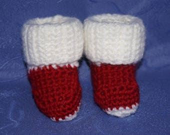 Red and white baby crochet slippers
