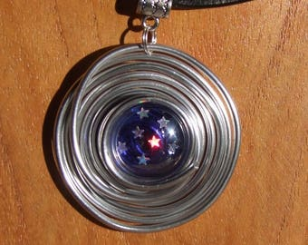 "Choker black leather, aluminum and Navy Ultra cabochon Star ""Heavenly 2"" pendant"