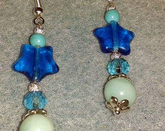Mother of Pearl turquoise and Blue Star earrings