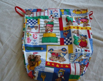 TOY BEARS PATTERN MULTICOLORED COTTON BAG