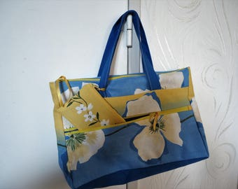 BAG HAND PRINTED TIARE FLOWER BLUE AND YELLOW