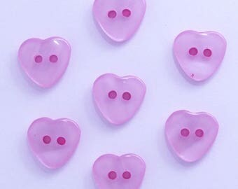 Heart 12mm set of 10 buttons: light pink - 002211