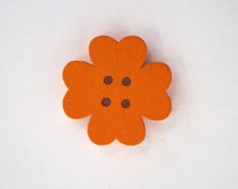 19mm x 10 flower wooden button: Orange - 001870