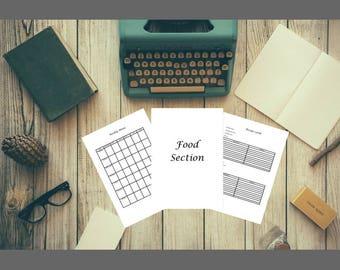 Food Section for Home Management Binder