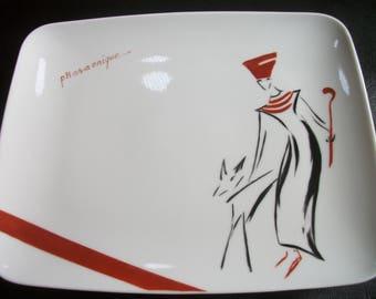 rectangular plate with porcelain, handmade hand painted design motif theme / PHARAONIC
