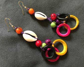 Pair earrings handcrafted seed/nut tagua, acai + cowries + Amazon wax/Indian cotton, eco-friendly, renewable, sustainable, hippie