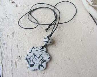 Necklace light flower pendant polymer marbled, black and grey marble, black cord