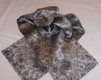Black and gray satin fabric scarf