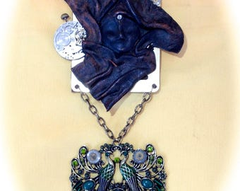 Necklace steampunk clock of the Feeraille Designer