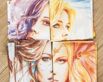 4 fairy fabric napkins