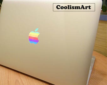 FREE SHIPPING - Rainbow Semi-transparent Jelly Logo Sticker for Apple MacBook Air Pro Retina 11 12 13 15  17 inch Mac Laptop Skin Decal