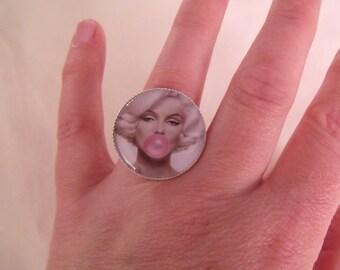 ring cabochon 25mm retro woman