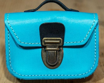 Light blue leather mini-cartable