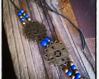 HeadBand jewelry head piece filigree bronze / blue beads