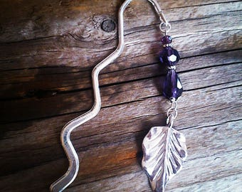 Bookmark silver charm and beads purple