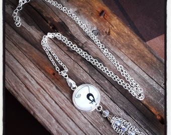 CAT and pearls/bunch cabochon silver pendant necklace