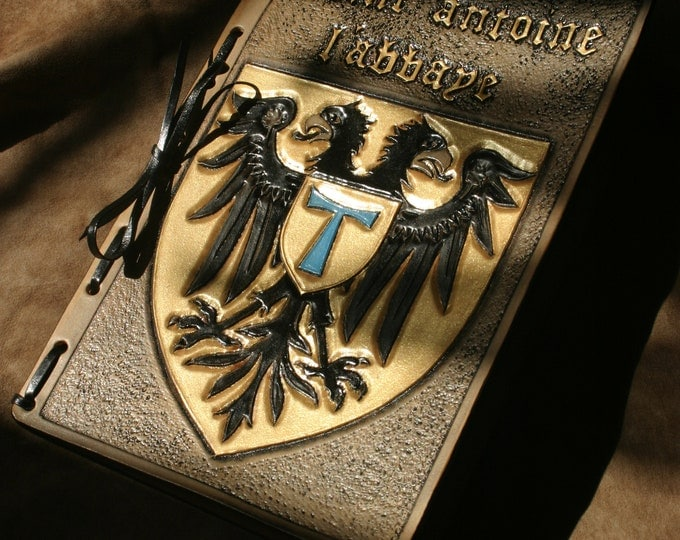 "A5 sketchbook Crest Coat of ""Saint Anthony the Abbey"" quoted medieval French embossed leather"
