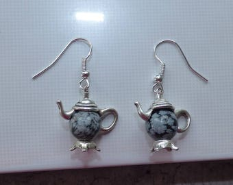 """EARRINGS """"COLLECTION ALICE"""" COFFEE SNOWFLAKE OBSIDIAN"""