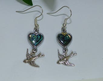 Abalone earrings and a swallow
