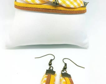 Set bracelet earrings yellow tones