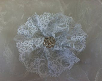 Flower 11 cm lace and rhinestones