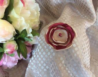 Flower 5 cm in Burgundy and beige satin with Rhinestone