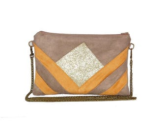 Pouch, graphic bag shoulder strap, beige, yellow Suede, faux leather glitter gold