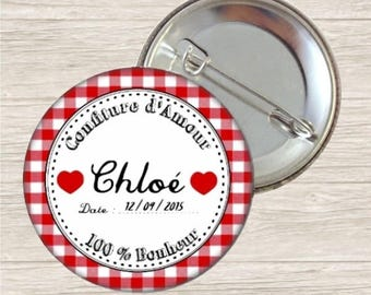 Personalized badge for birth 3.7 cm / name and date