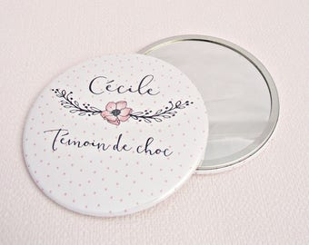 "Mirror personalized wedding 7.5 cm / + name ""Witness charm"""