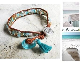 Bracelet wrap-multi-rang-leather-turquoise-semi-precious stones-bracelet zen-silver tibet-bohemian-gypsy-hippy chic-boho-bobo-boheme