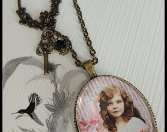 """The pretty girl of yesteryear"" sautoir necklace bronze metal"