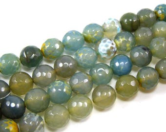 Pearl agate faceted 10 mm red and blue set of 4