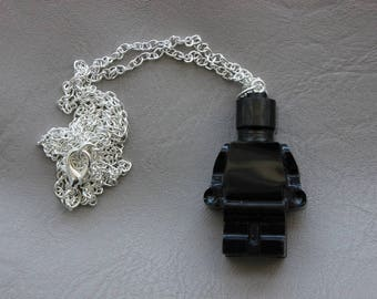 Necklace 77 cm + pendant snowman toy in black resin