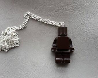 Necklace 77 cm + pendant snowman toy resin Brown
