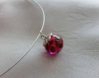 Choker + pendant sphere1.8cm resin and dried Stillingia rose flowers