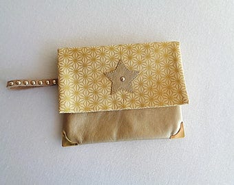 Small pouch with all faux leather gold and gold stars print cotton