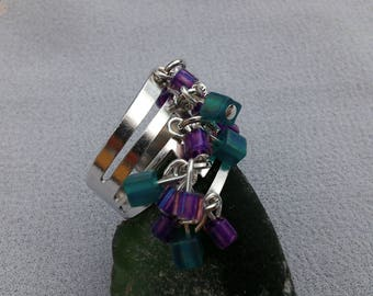 Adjustable ring turquoise and purple square beads