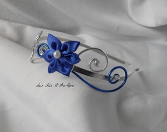 Headband with Royal blue satin flower