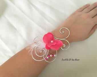 ERIKA fuchsia Orchid wedding bracelet