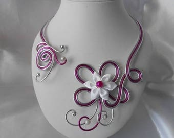 ARIELLE fuchsia & silver wedding necklace