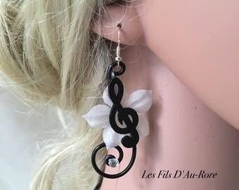 Hello music note earrings