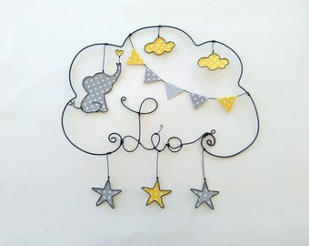 "Personalized name in wire ""a love of elephant in a rain of stars"" baby room decoration"