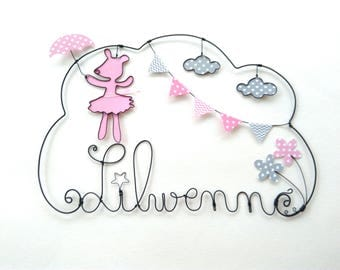 """Personalized """"pretty Lilibelle"""" wire name wall decor for child's room"""