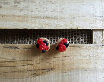 Pair earrings Mufin red fruit